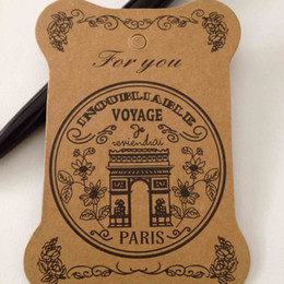 Wholesale DIY ZAKKA thickening kraft paper board label tag bookmark shape quot Paris quot printed ribbon collection