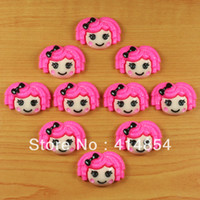 Cheap Wholesale-Wholesale 50pc Hot Pink Hair Lalaloopsy Resin Cabochon Flatbacks Flat back Scrapbooking Hair Bow Center Crafts Embellishment DIY