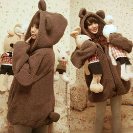 Wholesale 3 Color Novelty Animal Cartoon Bear Ear Hoodies Winter Loose Girls Plush Velvet Outerwear Sweatshirt Black Carddigans
