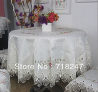 lace tablecloth - New cm Round Elegant Polyester Cross stitch Embroidery Tablecloth Lace Embroidered Table linen Cloth Cover