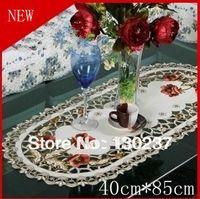 oval tablecloth - 229 cm cm Oval European embroidery cloth art tablecloths hollow coffee table cloth table mats