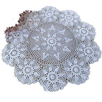 Wholesale handmade crochet tablecloths Crochet flower round doilies crafts cover Cloth holiday supplies wedding decoration Can custom