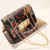 Wholesale 2015 women s spring handbag vintage bag flower oil painting bag mini chain of packet messenger bag