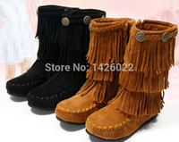 ENMAYER 2015 Women's 3 Layer Fringe Tassels Flat Heel Boots Round Toe Mid-Calf snow boots Shoes big Size34-43 winter boots