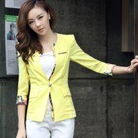 Wholesale Blazer Women Summer Tropical Thin Linen Print Yellow Blazer Slim Jacket Sleeve Plus Size S XL blaser feminino C47538