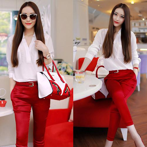 2017 Casual V Neck White Shirt Red Pants Ladies Suit Cropped ...