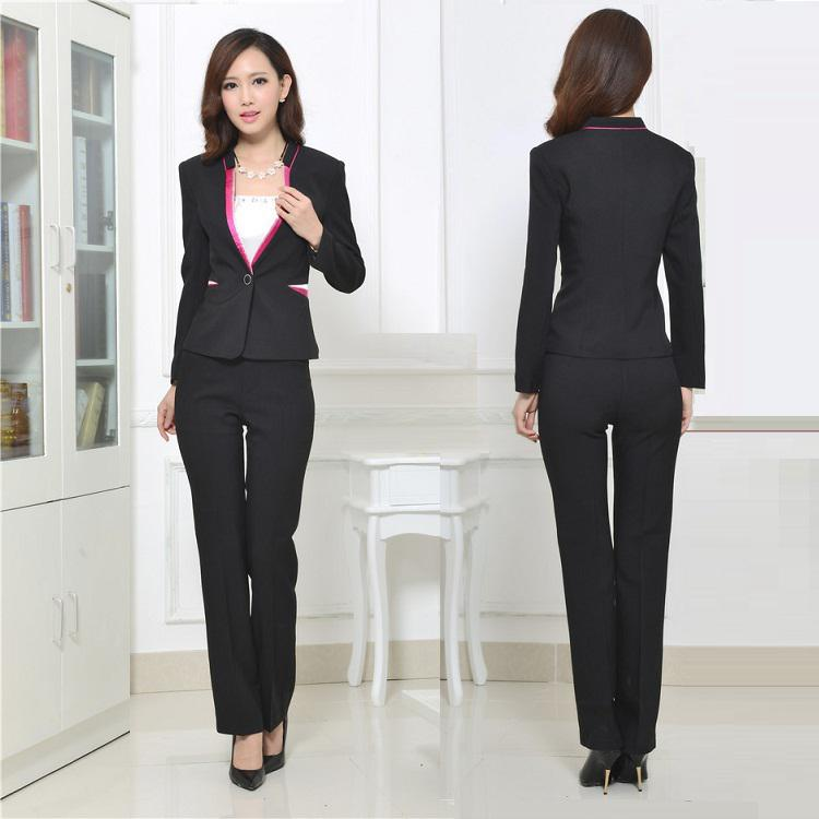 2017 2015 Autumn Winter Women Suits With Pants Ladies Suits Office ...