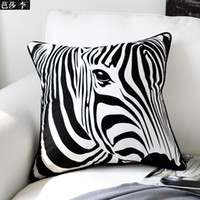 bamboo throws - H3102 Classic Creative Black White Zebra Print Cotton Cushion Cover Throw Pillow Case Seat Car Pillow Cover Pad Home Decor Gift