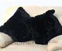al por mayor almohadas de piel de conejo-ENVÍO GRATIS CX-D-25B 40x40cm lecho Real Rex Rabbit Fur almohada cubierta Negro ~ ~ Wholesale Drop Shipping
