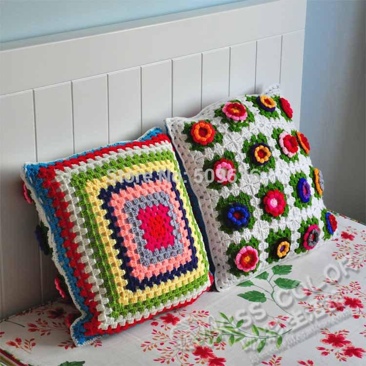 Handmade Crochet Flower Cushion Cover /for Chair And Seat Size:40*40cm Cushion  Cover Pattern Cushion Covers For Chairs Cushion Cover Green Online With ...