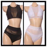 Cheap 2015 Sexy hollow out high waist bikini Monokini White Color Mesh fabric Bikini vintage bikini pin up muslim swimsuit Swimwear