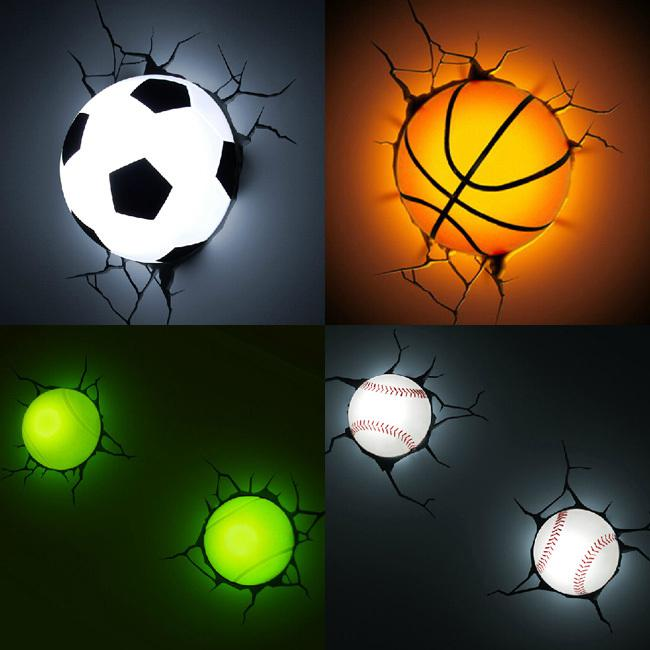 2017 Football Basketball Tennis Baseball Style 3d Night Light Fashionable Wall Lamp Led Child ...