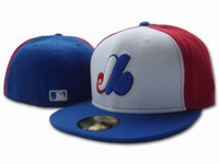 Wholesale Men s full Closed Montreal Expos fitted hat sport team casquette high quality baseball cap white red blue