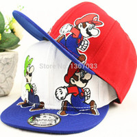 Cheap Wholesale-2015 New Cartoon Children's Snapback Caps Mario Baseball Cap Sports Casquette Hat Hiphop Caps For Kids Free Shipping