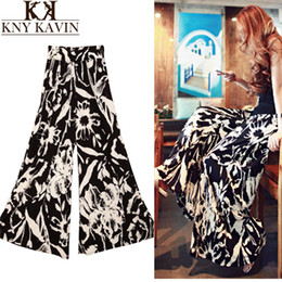 Moda 2015 Spring Summer Women's Fashion Pants Cargo Elastic High Waist Loose Cotton Trousers Wide Leg Pants Skirte Printed WP421