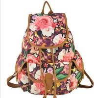 big east schools - EAST KNITTING SY040 New Women Fashion Big Flower Printing Ink School Backpack Canvas Vintage Backpack Bag
