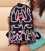 big cat backpack - P0135 kpop bag women s printing backpack mochilas canvas sweet candy color shy cat preppy style big travel bag