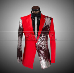 Wholesale wedding suits for men plus size clothing set groom suits smoking red tuxedo jacket mens sequin tuxedo best prom suits S XL