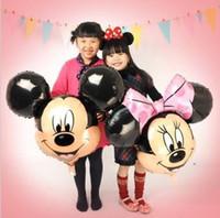 achat en gros de jouets de souris minnie gros-chaude nouvelles 5pcs / lots bande dessinée de Mickey Mouse Mickey Minnie ballons en aluminium parti ballons les jouets de gros enfants