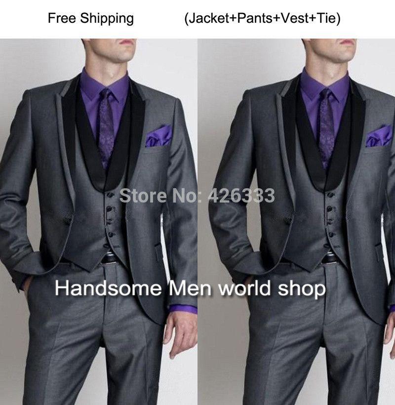 Groom Tuxedos Best Man Bridegroom Men Wedding Party Suits Design Jacket Pants Tie Vest Ts125 New
