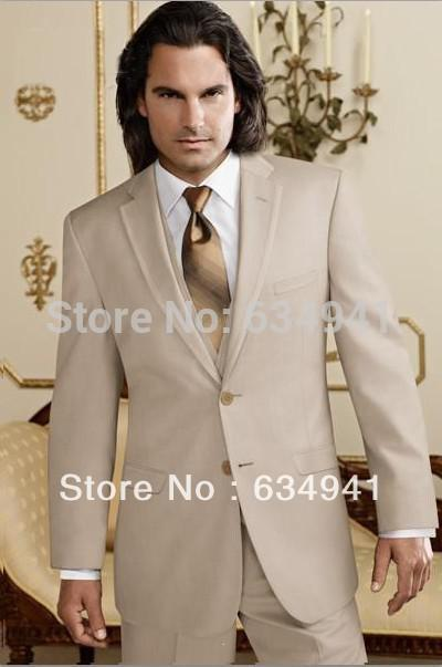 Custom Made Tan Groom Tuxedo Best Champagne Man Suit Western ...