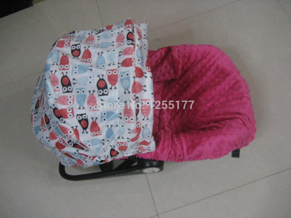 2018 baby car seat cover owl print hot pink dots minky 100 cotton with infant with canopy from. Black Bedroom Furniture Sets. Home Design Ideas