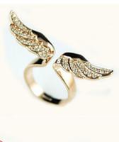 achat en gros de déesse diamants d'or-boutique de mode coréenne haut de gamme des diamants d'imitation et les ailes de la déesse de l'or ouverture ring ring fabricants de bijoux en gros