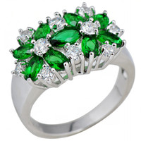 emeralds - Emerald Flower White Gold Filled Ring Women s KT Finger Rings Lady Fashion Jewelry Big Promotion Size A0507