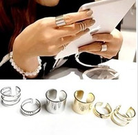 polished rocks - 2015 hotest Shiny Punk Polish Gold plated Stack Plain Band Midi Mid Finger Knuckle Ring Set for women girl Rock