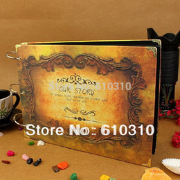 Wholesale fashion handmade diy black hard paper wedding photo album best gift record your story baby picture albums