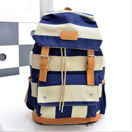 Wholesale-Fahion Casual Unisex Canvas Black Blue Stripe School Bags Rucksack Backpack Women  Shoulder Bag Free Shipping