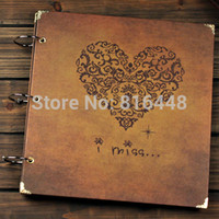 big picture books - 12 Inch Big Kraft Paper Handmade Sticky Type Retro DIY Photo Album Wedding Baby Gift Scrapbooking Scrapbook Picture Book Heart