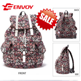 Wholesale-ENVOY Vintage Small Floral Backpack 2015 Hot Sale Ladies Cotton Big Bags Fashion Canvas School Bag Feminine Backpack E8002