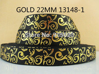 Wholesale Y13148 kerryribbon quot gold printed Grosgrain ribbon DIY headwear ribbon and bow garment accessories color
