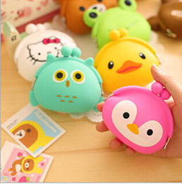Wholesale Cartoon Animals Colorful Silicone Coin Purse kawaii pouch Bag Candy Color Hasp Silicone Money Bag Rubber Coin Wallet