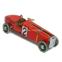 Wholesale New Iron metal handicraft Vintage red Wind Up Racing old classic Race Car model Clockwork tin Vehicles toy Collectable Gifts