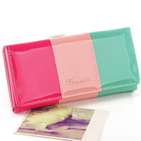 abs hit - New Fashion PU Leather Wallets Candy Colors Women Wallet Hit Color Stitching Long Clutch Coin Purses Card Holders Mobile Bags