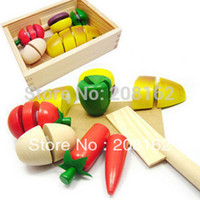 wooden crates - Educational Toys Wooden Box Artificial Fruit Bread Food Qieqie Look Slice and Cutting Crate Play House Mini Order usd