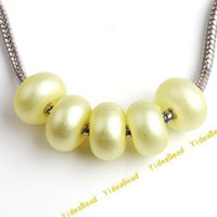 Round plastic pearl beads - Acrylic Beads Yellow Plastic Round Charm Beads Imitation Pearl Fit Beads Braclets