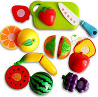 Cheap Children Play House Toy Fruit & Vegetable Cut Kitchen Toy Plastic Cement Christmas Gift Educational Toy free shipping 1 set