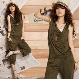 Women Jumpsuits Fashion Jumpsuit Sports Casual Harem Pants Jumpsuit V Neck Sleeveless Rompers Trousers New Arrival