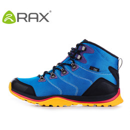 2015 Rax men's shoes waterproof hiking shoes men male thermal suede cowhide outdoor shoes shock absorption hiking boots shoes