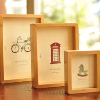 Cheap 3pcs lot Multi Size small mediuml arge wood photo frame eco-friendly picture frame