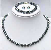 Wholesale Real Black pearl Bracelet earrings Necklace set Pearl Jewelry Sets