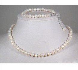 Real White Pearl Silver Clasp Necklace Bracelet & Gift   Pearl Jewelry Sets