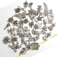 Wholesale 400 Assorted Carved Charms Pendants Beads Metal Alloy Pandent Plated Antique Silver Diy Bead
