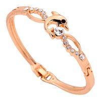 10k gold bracelet - Yazilind Jewelry Fashion Jewelry Dolphin Shape Cute Design K Yellow Gold Crystal Bangle Bracelet