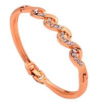 10k gold bracelet - Yazilind Jewelry Vogue Wave Bracelet Rhinestone Inlay K Yellow Gold Filled Bangle Bracelet Lady