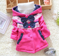 Wholesale Retail Children Outerwear Winter Spring New Girls Jackets And Coats Dot Bow Hooded Baby Girl Jacket