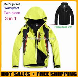 Wholesale Brand men s spring winter in1 removable two piece waterproof outdoor rock climbing mountain hiking outing jacket leisure coat